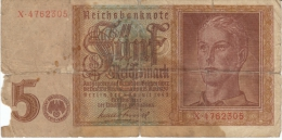 Germany #186, 5 Reichsmarks Banknote Currency - 5 Reichsmark