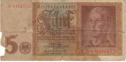 Germany #186, 5 Reichsmarks Banknote Currency - [ 4] 1933-1945: Derde Rijk