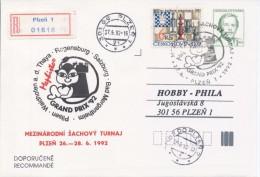 J0884 - Czechoslovakia / Postal Stationery (1992) V. Havel; Plzen 1: Internat. Chess Tournament Mephisto GRAND PRIX '92 - Scacchi