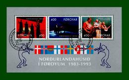 """.1993 DK Faroer Block 6 Mi# 243 C - 245 C GESTEMPELT """"10 Jahre Haus Des Nordens, Tórshavn"""" (B33gest) - Féroé (Iles)"""