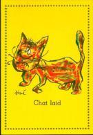 No PAYPAL !! : Siné CHAT LAID ,Carte Postale Série Les Chats De SINÉ CP Plastifiée Années 50 PULCINELLA NEUF - Cartes Postales