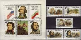 200 Jahre USA 1975 Patrioten Polen 2400/4 Plus Block 63 O 2€ Siedler In Amerika History Bloc Ship Sheet Fogli Bf Polska - Blocks & Sheetlets & Panes