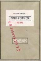 51- REIMS - CHAMPAGNE PIPER HEIDSIECK -  CARTE DES VINS - Menus