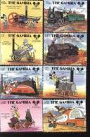 GAMBIA   709-16  MINT NEVER HINGED SET OF STAMPS OF DISNEY ; HISTORIC LOCOMOTIVES  #  S-148  ( - Disney