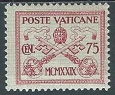 1929 VATICANO CONCILIAZIONE 75 CENT MH * - EDV13 - Neufs