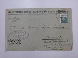 Cechoslovensko -CSR - 1939 -Cover - FARSKY URAD - KRUPINE  -Dr Göllner - Budapest   J1213.14 - Czechoslovakia