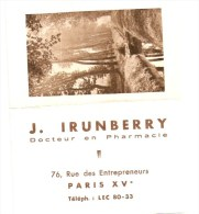 PHARMACIE - PHARMACIEN IRUNBERRY - Rue Des Entrepreneurs PARIS 15 - Calendrier 1950 - Tamaño Pequeño : 1941-60