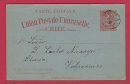 CHILI     //  Entier Postal  //   Pour Valparaiso   //  24/10/1892 - Chile