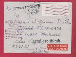 Enveloppe De Poitiers  //  Pour Las Vegas  //   Retour à L Envoyeur  //  4 Aout 1971 - Marcophilie (Lettres)