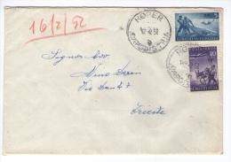 Cover Envelope TRIESTE ZONA B  STT VUJA VUJNA 5 DIN 10 DIN KOPER CAPODISTRIA - TRST TRIESTE 1952 - Storia Postale