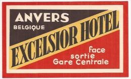 EH3 - EXCELSIOR HOTEL - Anvers - Belgique - Etiquette De Bagage - - Hotel Labels