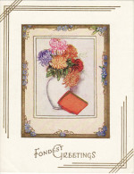 1930´s Birthday Card Fondest Greetings Vase & Carnation Flowers - Picture Cards