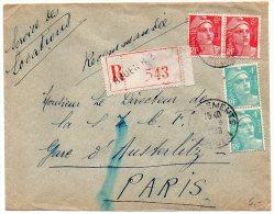 4f X2 + 6f X2 Gandon Sur Lettre Recommandée De 1948 - CaD Chargements / Rouen - Postmark Collection (Covers)
