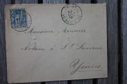 Enveloppe Pour St Sauveur Affranchissement Type Sage Oblitération Corbeil Type A Seine Et Oise 72 - Postmark Collection (Covers)