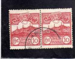 SAN MARINO 1903 VEDUTA VIEW  LANDSCAPES  CENT. 10  COPPIA TIMBRATA PAIR USED - San Marino