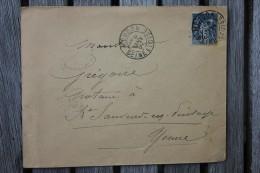 Enveloppe Pour St Sauveur Affranchissement Type Sage Oblitération Meudon Type A Seine Et Oise 72 - Marcophilie (Lettres)
