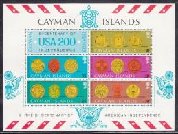 Cayman Islands MNH Scott #376a Souvenir Sheet Of 5 Plus Label American Bicentennial - State Seals - Iles Caïmans