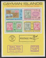 Cayman Islands MNH Scott #371a Souvenir Sheet Of 4 75th Anniversary Cayman Islands 1st Postage Stamps - Iles Caïmans