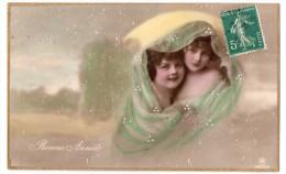 Deux Jolies Fillettes Sous Un Voile, Bonne Année, Ajoutis De Peinture, Neige, éd. RPH N° 4423/4 - Ritratti