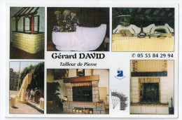 Yssandon, Gérad David, Tailleur De Pierre, Carte Publicitaire, Cheminée, Terrasse, Fontaine, Monument Funéraire, 2 Scans - France