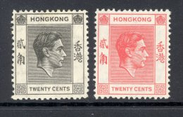 HONG KONG, 1938 20c Black (very Fine MM) + 20c Red (unused No Gum), Cat £12 - Hong Kong (...-1997)