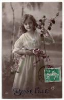 Jolie Fillette Et Fleurs, Robe Longue, Bonne Fête, éd. E.L. N° 4072 - Portraits