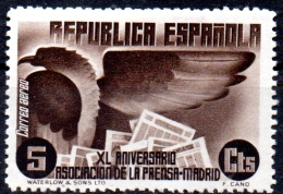 SPAIN 1936 40th Anniv Of Madrid Press Association - 5c Pyrenean Eagle & Newspapers  MH - Nuevos & Fijasellos