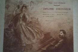 73 - AIX LES BAINS- 87 -LIMOGES- TRES BEAU DIPLOME D' HONNEUR A LA CHORALE DES ENFANTS DE LIMOGES-1931-GITANE - Diplômes & Bulletins Scolaires