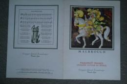BEAU MENU PAQUEBOT FRANCE- CROISIERE AUTOUR DU MONDE 1972- ILLUSTRATEUR JEAN MERCIER- MALBROUGH- CGT TRANSATLANTIQUE - Menus