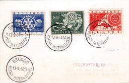 BELGIEN 1954 - 3 Sondermarken (20C+80C+4Fr) - 4 Sonderstempel Brugge - Briefe U. Dokumente