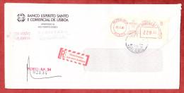 Einschreiben Reco, Banco Espirito Santo E Comercial De Lisboa, Freistempel Porto, R-Label Aus Dem Ausland 1985 (59143) - 1910-... République