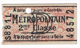 titre de transport ticket de m�tro de PARIS lettreD 1 trajet
