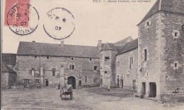 89 AVALLONNAIS  PISY  Ancien CHATEAU  Cour Intèrieure FERME Femmes Enfant Timbre 1907 - France