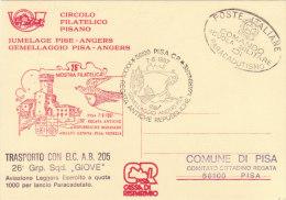 """PISA 1987 TRASPORTO CON ELICOTTERO """"GIOVE"""" GEMELLAGGIO PISA ANGERS - REGATA ANTICHE REPUBBLICHE MARINARE - - Elicotteri"""