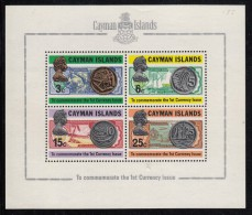 Cayman Islands MNH Scott #309a Souvenir Sheet Of 4 Notes And Coins Of The Caymans - 1st Currency Issue - Iles Caïmans