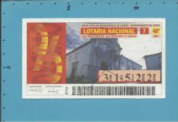 LOTARIA NACIONAL - 48.ª ORD. - 28.11.1996 - RIBEIRA GRANDE - AÇORES - Portugal - 2 Scans E Description - Billets De Loterie