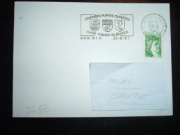 CARTE TP SABINE DE GANDON 1,20F VERT OBL.MEC. 20-6-1981 POSTE AUX ARMEES BPM 511A + JOURNEES PORTES OUVERTES AMITIE FRAN - Marcophilie (Lettres)