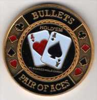 Poker Card-Guard : Protects The Cards In Your Hand : Bullets Pair Of Aces Hold'em - Casino