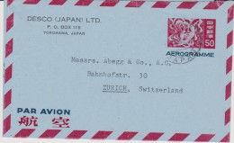 JAPON - 1963 - AEROGRAMME De YOKOHAMA Pour ZURICH - Aerogramas