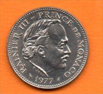 MONACO-  1977  5 Frs  Rainier III  En Cupro-nickel ( Tirage 14 500 )(2) Cat  Gadoury N°153  Tres Bon état - Monaco