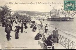 Nice - La Promenade Des Anglais Et Le Palais De La Jetée, Casino Sur La Mer. - Parques, Jardines