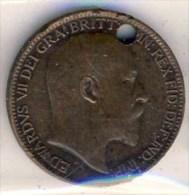 MONNAIE ANGLAISE  EDOUARD VII # FARTHING 1903 # PERCEE - 1902-1971 : Post-Victorian Coins