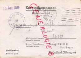 GUERRE 1939-1945- WW2- COURRIER DE PRISONNIER- STALAG XVIII- MARKT PONGAU- JOSEPH ANDRE LE PERREUX SUR SEINE- - Documents Historiques