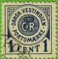 Voyo DANISH WEST INDIES 1902 1c Sc#J1 (o) PORTO - Danish West Indies