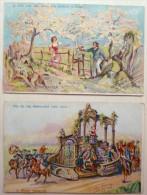 Lot 2x Chromo Officielle Illustrateur Lavaux Visite Royale 13 Juillet  Liege 1913 Gréty Cramignons Chansons Wallonnes - Belgique