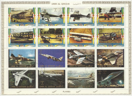 Umm Al Qiwain 1972 Gestempelter Block Old And New Planes Flugzeuge Used - Big Sheet Großformat - Umm Al-Qaiwain