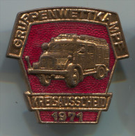 FIREMEN - Truck, GRUPPENWETTKAMPF KREISAUSSCHEID, Feuerwehrmann, 1971. Enamel, Pin, Big Badge - Bomberos
