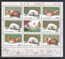 Korea - 1996 Year Of The Rat Kleinbogen MNH__(THB-5242) - Korea (Nord-)