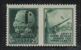 RSI35A - R.S.I. , Propaganda Di Guerra 25 Cent N. 28h *** RepUPBlica - 4. 1944-45 Repubblica Sociale