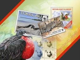 nig14208b Niger 2014 WWF Stamp on stamp SOS  Birds s/s Snake Panda
